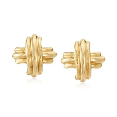C. 1990 Vintage Tiffany Jewelry 18kt Yellow Gold X Earrings, , default