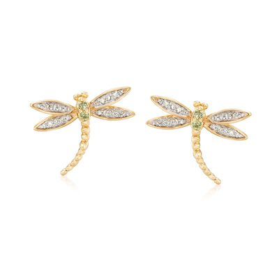 .10 ct. t.w. Diamond Dragonfly Earrings with Peridot Accents in 18kt Gold Over Sterling, , default