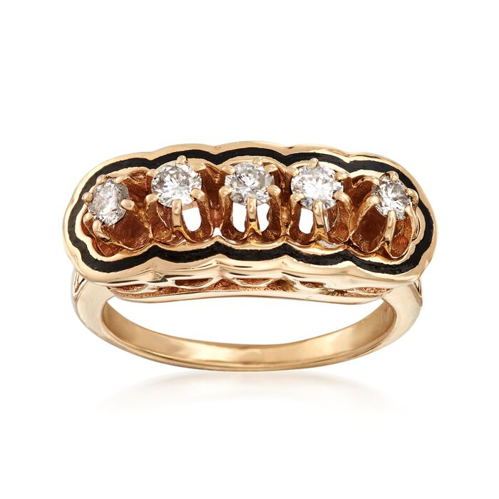 C. 1970 Vintage .50 ct. t.w. Diamond and Black Enamel Ring in 14kt Yellow Gold. Size 5.5, , default