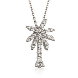 "Roberto Coin ""Tiny Treasures"" .17 ct. t.w. Diamond Palm Tree Necklace in 18kt White Gold, , default"