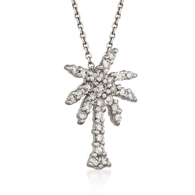 "Roberto Coin ""Tiny Treasures"" .17 ct. t.w. Diamond Palm Tree Necklace in 18kt White Gold    , , default"
