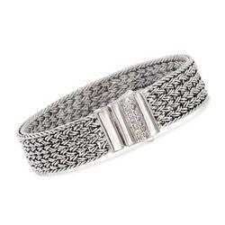 """Phillip Gavriel """"Woven"""" .30 ct. t.w. White Sapphire Basketweave Bracelet in Sterling Silver. 7.25"""", , default"""