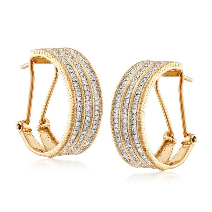 1.00 ct. t.w. Multi-Row Diamond Hoop Earrings in 18kt Gold Over Sterling