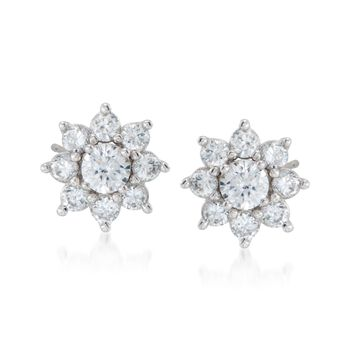 1.95 ct. t.w. CZ Jewelry Set: Stud Earrings and Earring Jackets in Sterling Silver, , default