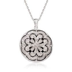 "Sterling Silver Scrolled Locket Necklace With Diamond Accents. 16"", , default"