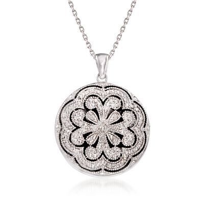 Sterling Silver Scrolled Locket Necklace With Diamond Accents, , default