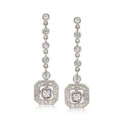 C. 1980 Vintage 1.20 ct. t.w. Diamond Drop Earrings in 18kt White Gold , , default