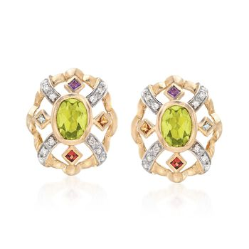 1.30 ct. t.w. Peridot Earrings With Diamonds and Multi-Stones in 14kt Yellow Gold, , default