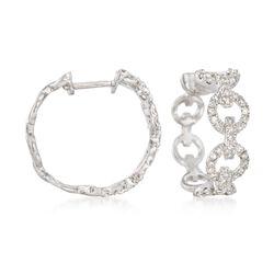 .37 ct. t.w. Diamond Circle-Link Hoop Earrings in Sterling Silver, , default