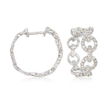 """.37 ct. t.w. Diamond Circle-Link Hoop Earrings in Sterling Silver. 5/8"""", , default"""