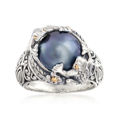 11-12mm Gray Mabe Pearl Frog Ring in Two-Tone Sterling Silver