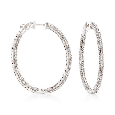 2.00 ct. t.w. Pave Diamond Oval Hoop Earrings in 14kt White Gold, , default