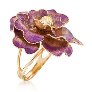 Italian 14kt Yellow Gold and Enamel Flower Ring
