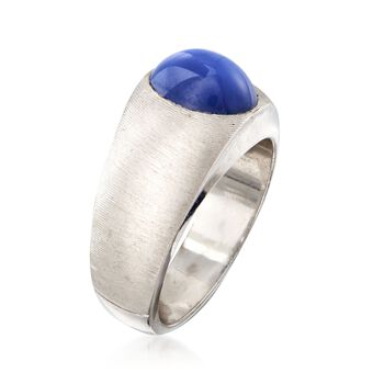 C. 1970 Vintage Bezel-Set Synthetic Sapphire Ring in 14kt White Gold. Size 8