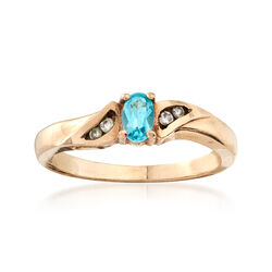C. 1990 Vintage .25 Carat Blue Topaz Ring With Diamond Accents in 14kt Yellow Gold. Size 5.5, , default