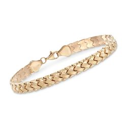 14kt Yellow Gold Brushed and Polished Braided Link Bracelet, , default