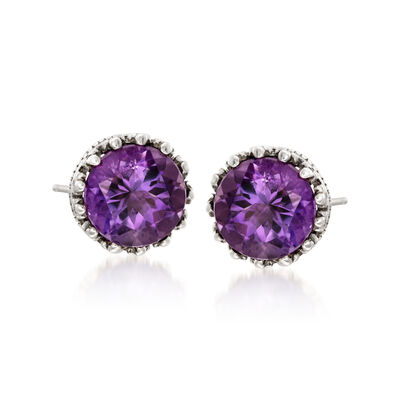 3.60 ct. t.w. Amethyst Stud Earrings in Sterling Silver, , default