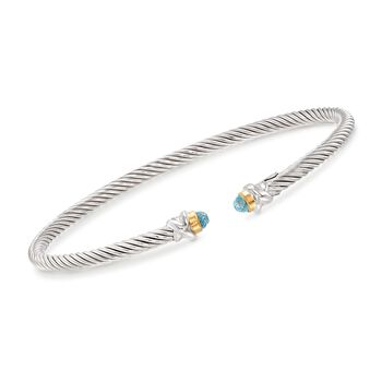 """Phillip Gavriel """"Italian Cable"""" .30 ct. t.w. Blue Topaz Cuff Bracelet in Sterling Silver and 18kt Gold. 7"""", , default"""