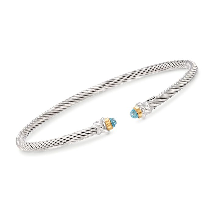 "Phillip Gavriel ""Italian Cable"" .30 ct. t.w. Blue Topaz Cuff Bracelet in Sterling Silver and 18kt Gold. 7"", , default"