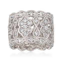 2.30 ct. t.w. CZ Vintage-Style Eternity Band in Sterling Silver, , default