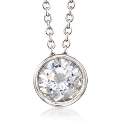 "1.00 Carat Bezel-Set CZ Solitaire Necklace in Sterling Silver. 16"", , default"