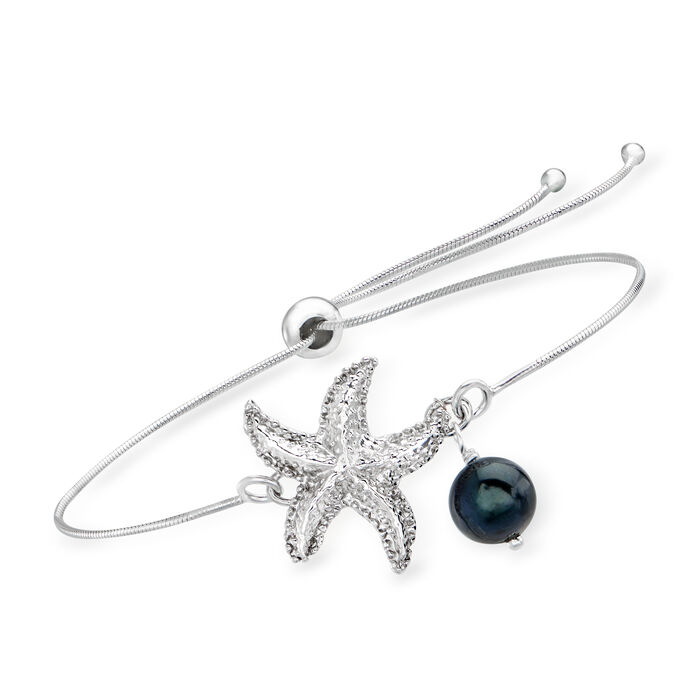 7.5-8mm Black Cultured Pearl Starfish Bolo Bracelet in Sterling Silver