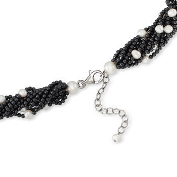 """5-7.5mm Cultured Pearl and Black Onyx Torsade Necklace in Sterling Silver. 18"""", , default"""