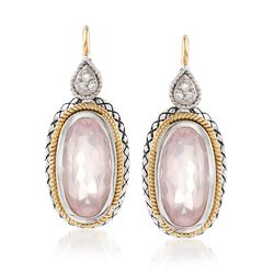 Andrea Candela Rose Quartz Drop Earrings With Diamond Accents in Sterling Silver and 18kt Gold , , default