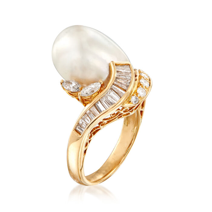 C. 1980 Vintage 16x12mm Cultured South Sea Pearl and .93 ct. t.w. Diamond Swirl Ring in 18kt Yellow Gold