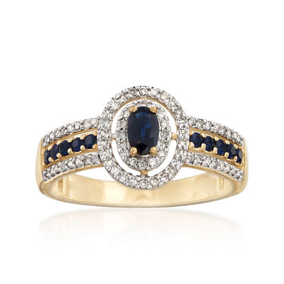 .30 ct. t.w. Sapphire and .22 ct. t.w. Diamond Ring in 14kt Yellow Gold, , default