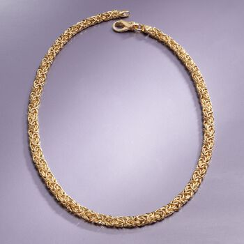 18kt Gold Over Sterling Silver Byzantine Necklace, , default