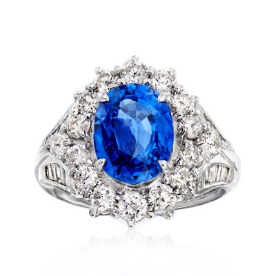 C. 1990 Vintage 3.95 Carat Sapphire and 1.48 ct. t.w. Diamond Cocktail Ring in Platinum