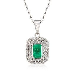 .30 Carat Emerald and .18 ct. t.w. Diamond Pendant Necklace in 14kt White Gold, , default