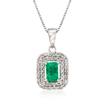 """.30 Carat Emerald and .18 ct. t.w. Diamond Pendant Necklace in 14kt White Gold. 18"""", , default"""