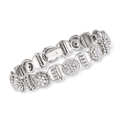 C. 1970 Vintage 2.80 ct. t.w. Diamond Section Bracelet in 18kt White Gold, , default