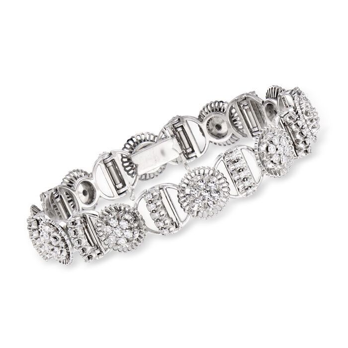 C. 1970 Vintage 2.80 ct. t.w. Diamond Section Bracelet in 18kt White Gold. 6.5""