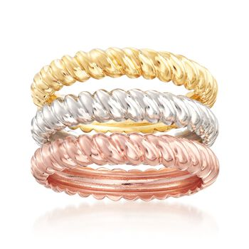 Italian Tri-Colored Sterling Silver Jewelry Set: Three Stackable Rope Rings, , default
