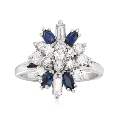 C. 1980 Vintage .90 ct. t.w. Diamond and .80 ct. t.w. Sapphire Cluster Cocktail Ring in 14kt White Gold