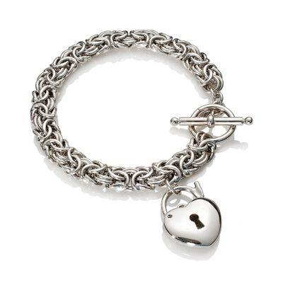 Italian Sterling Silver Heart Padlock Charm Byzantine Bracelet, , default