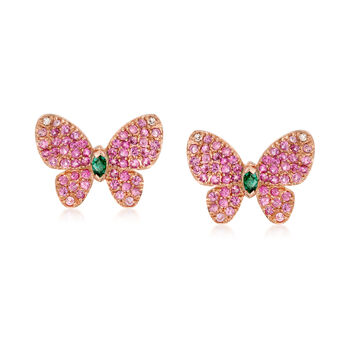 1.10 ct. t.w. Pink Sapphire and .10 ct. t.w. Emerald Butterfly Earrings With Diamond Accents in 18kt Rose Gold , , default