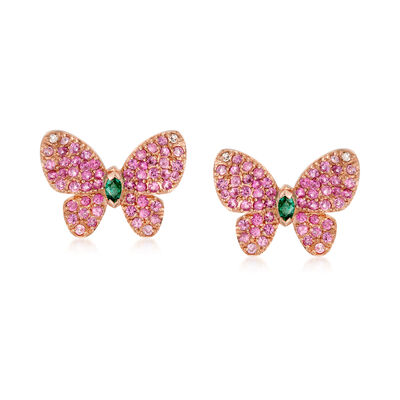 1.10 ct. t.w. Pink Sapphire and .10 ct. t.w. Emerald Butterfly Earrings With Diamond Accents in 18kt Rose Gold, , default