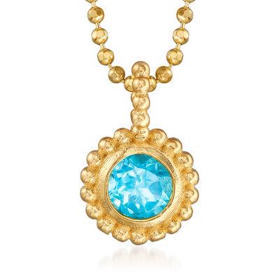 "Phillip Gavriel ""Popcorn"" .30 Carat Blue Topaz Beaded Necklace in 14kt Yellow Gold, , default"