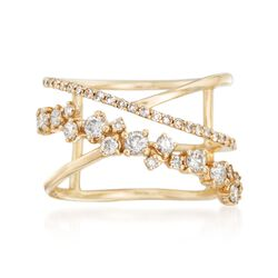 .73 ct. t.w. Diamond Open Crisscross Ring in 14kt Yellow Gold, , default