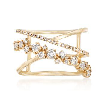.73 ct. t.w. Diamond Open Crisscross Ring in 14kt Yellow Gold, , default
