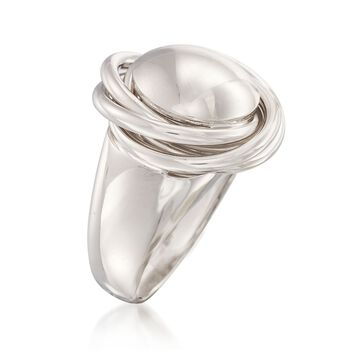 Italian Sterling Silver Big Bead Knot Ring, , default