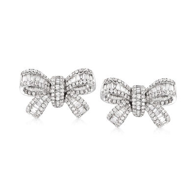 2.00 ct. t.w. Diamond Bow Earrings in 18kt White Gold, , default