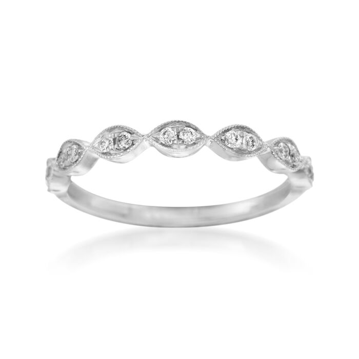 Henri Daussi .12 ct. t.w. Diamond Wedding Ring in 18kt White Gold