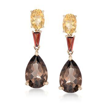 6.00 ct. t.w. Multi-Stone Drop Earrings in 14kt Yellow Gold, , default