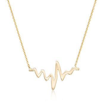 "14kt Yellow Gold Heartbeat Necklace. 16"", , default"