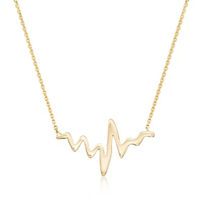 14kt Yellow Gold Heartbeat Necklace, , default